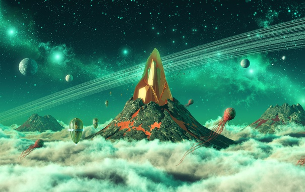 Фото обои небо, звезды, облака, фантастика, гора, арт, кристал