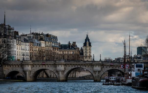 Фото обои мост, река, Франция, Париж, дома, вечер