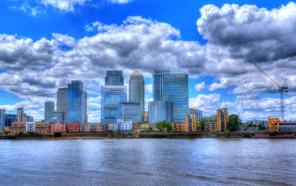 Фото обои облака, река, Англия, Лондон, HDR, дома, доки