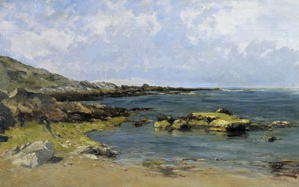 Фото обои камни, берег, картина, морской пейзаж, Карлос де Хаэс, Прилив