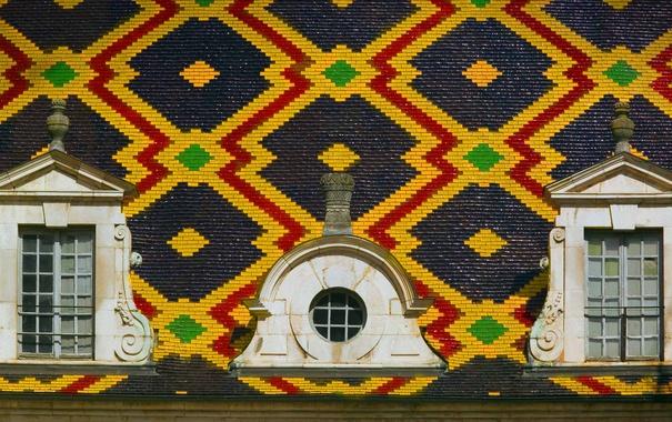 Фото обои крыша, узор, краски, плитка, Франция, текстура, окно