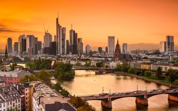 Фото обои город, река, рассвет, дома, небоскребы, Германия, мосты
