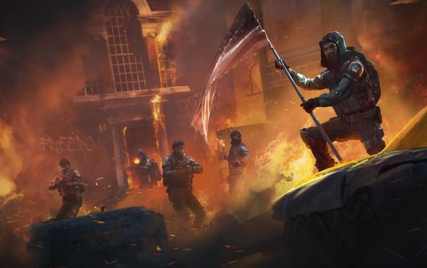 Фото обои ночь, огонь, флаг, солдаты, революция, Homefront: The Revolution