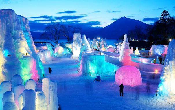 Фото обои лед, зима, гора, вечер, Япония, Хоккайдо, ледовый фестиваль
