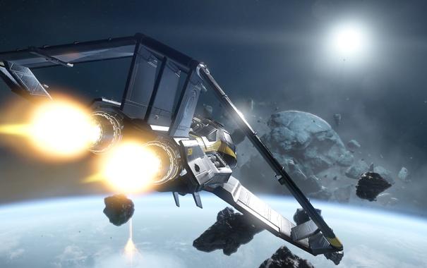 Фото обои полет, осколки, корабль, звездолет, Star Citizen
