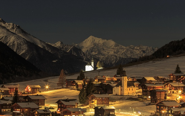 Фото обои зима, снег, горы, ночь, огни, дома, Швейцария