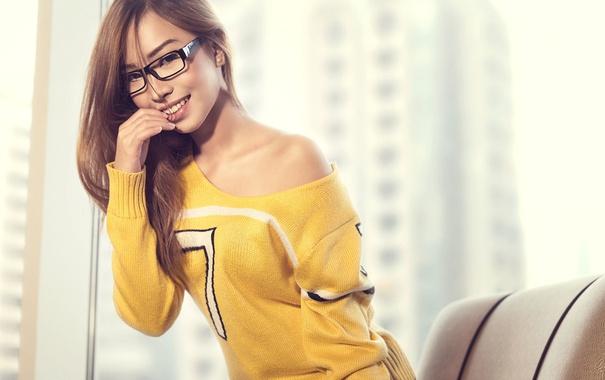 Фото обои девушка, улыбка, очки, girl, шатенка, азиатка, model