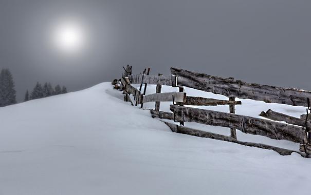 Фото обои снег, ночь, забор