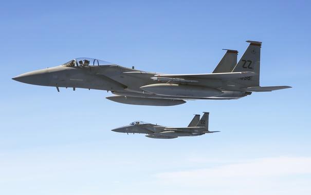 Фото обои полет, истребитель, Eagle, F-15