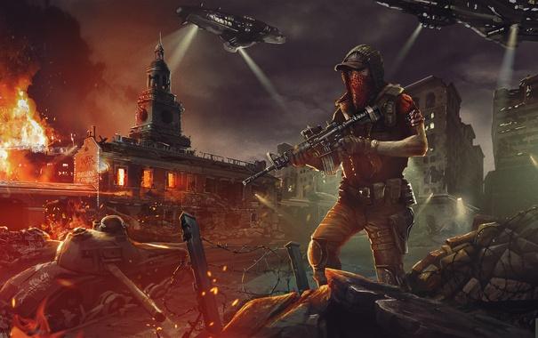 Фото обои ночь, город, арт, солдат, танк, руины, Homefront: The Revolution