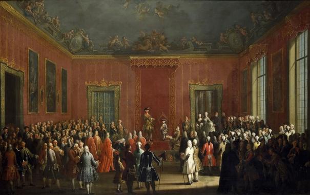 Фото обои люди, интерьер, картина, жанровая, Антонио Джоли, Отречение Карла III