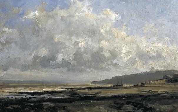 Фото обои море, пейзаж, берег, лодка, картина, Карлос де Хаэс, Окрестности Трувиля