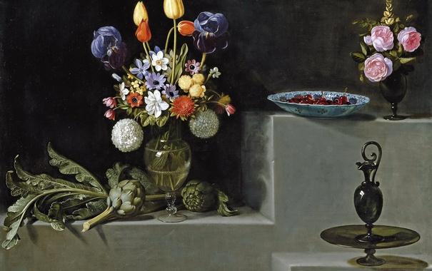 Фото обои картина, ваза, Цветами и Стеклянной Посудой, -Хуан ван дер Амен и Леон, Натюрморт с Артишоками