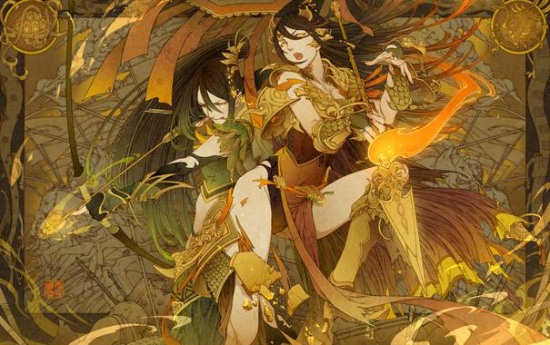 Фото обои девушка, огонь, копье, Парень, стрелы