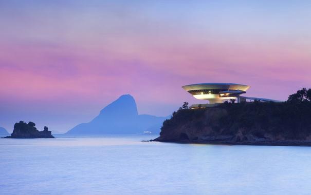 Фото обои море, гора, зарево, Бразилия, Нитерой, Музей современного искусства