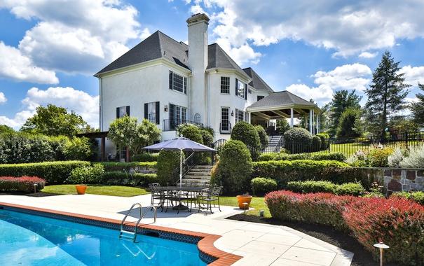 Фото обои дом, вилла, бассейн, особняк