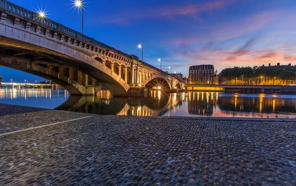 Фото обои закат, мост, река, Франция, дома, вечер, набережная