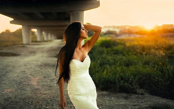 Фото обои Girl, Sun, White, Summer, View, Hair, Dress