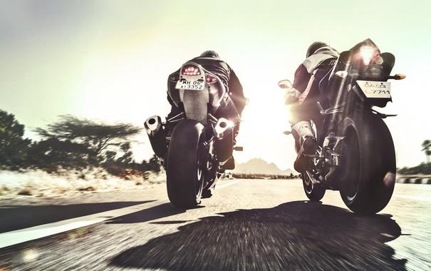 Фото обои асфальт, скорость, мотоцикл, байкер, suzuki, мотоциклист, suzuki GSX R 1000