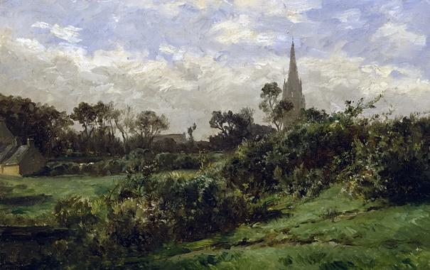 Фото обои трава, пейзаж, дом, картина, кусты, Карлос де Хаэс, Башня в Дуарнене