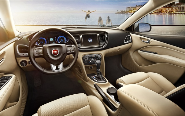 Фото обои панель, интерьер, руль, салон, Fiat, торпедо, фиат