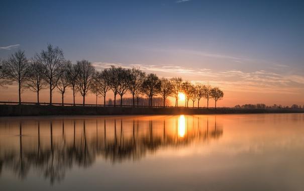 Фото обои деревья, отражение, река, восход, рассвет, канал