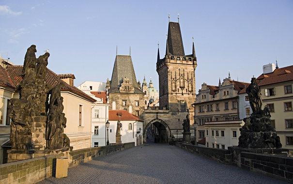 Фото обои утро, Прага, башня, Карлов мост, Чехия, дома