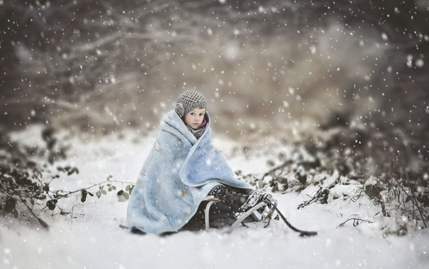 Фото обои зима, снег, девочка