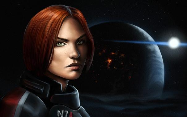 Фото обои взгляд, женщина, игра, арт, Mass Effect, Шепард