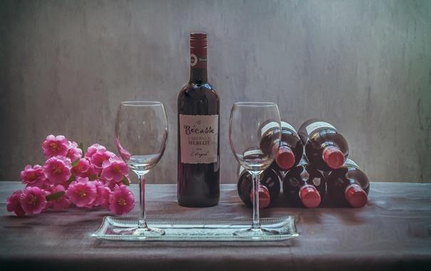 Фото обои цветы, фон, вино
