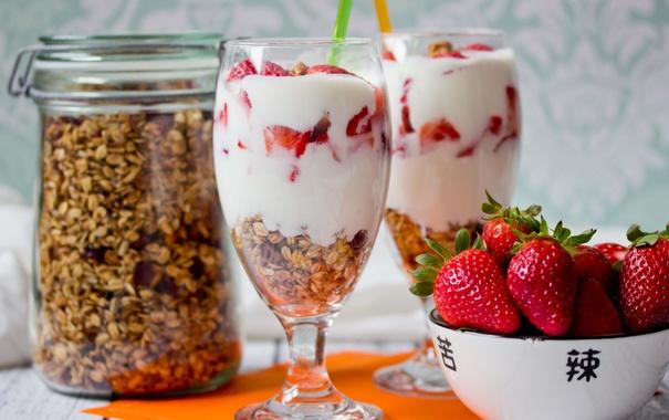 Фото обои клубника, хлопья, мюсли, йогурт