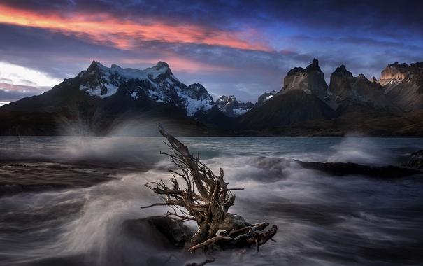 Фото обои море, горы, ночь