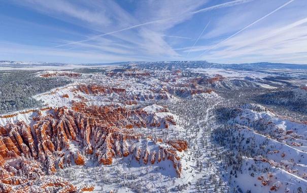 Фото обои зима, снег, горы, природа, скалы, долина, Юта