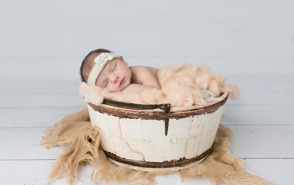 Фото обои фон, корзина, младенец