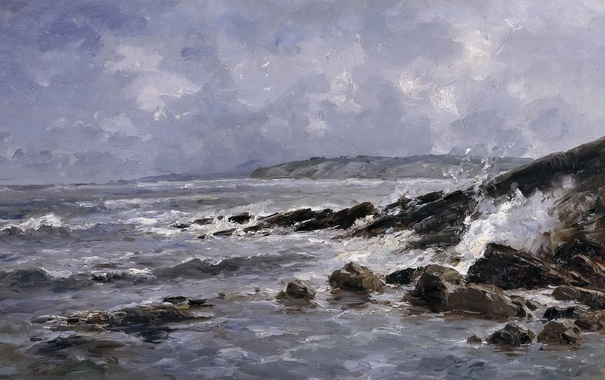 Фото обои картина, Прибой, морской пейзаж, Карлос де Хаэс