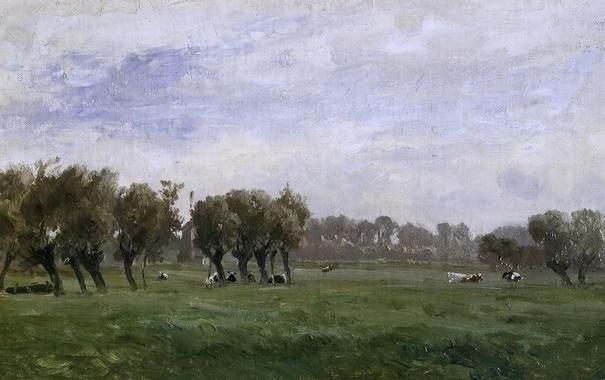 Фото обои трава, деревья, пейзаж, картина, коровы, Карлос де Хаэс, Голландские Луга