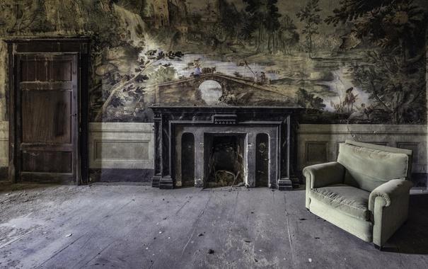 Фото обои фон, комната, кресло