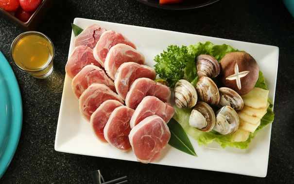 Фото обои грибы, мясо, моллюски