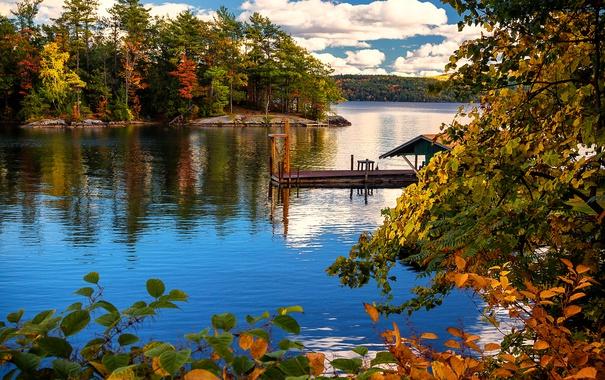 Фото обои деревья, берег, Нью-Йорк, листва, озеро, причал, облака