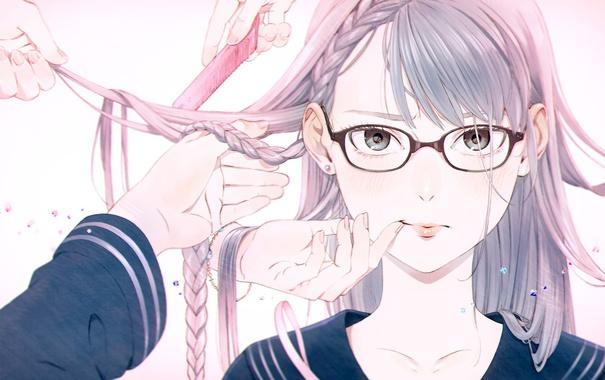 Фото обои девушка, лицо, волосы, руки, арт, очки, косичка
