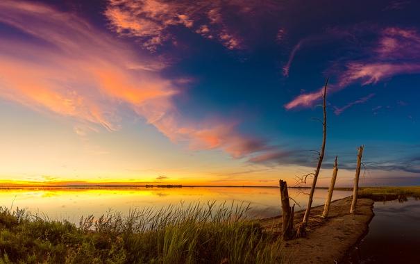 Фото обои небо, трава, закат, озеро, зарево