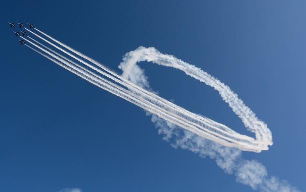 Фото обои авиация, авиашоу, Blue Impulse, T-4