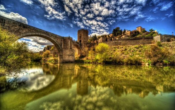 Фото обои вода, облака, мост, отражение, река, HDR, дома