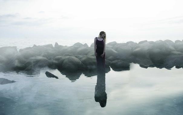 Фото обои девушка, природа, река