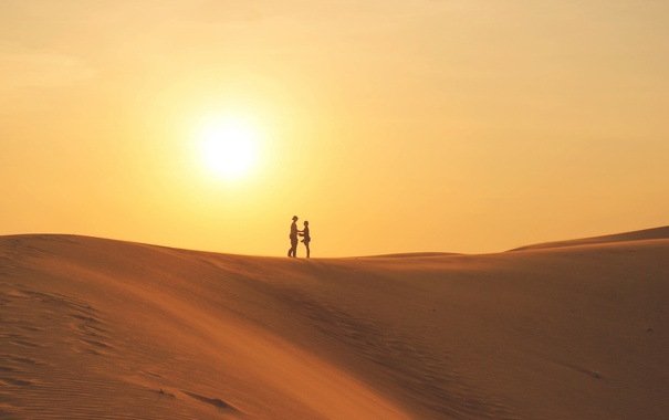 Фото обои природа, люди, дюны