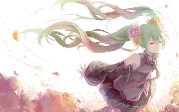 Фото обои девушка, цветы, аниме, лепестки, арт, форма, vocaloid