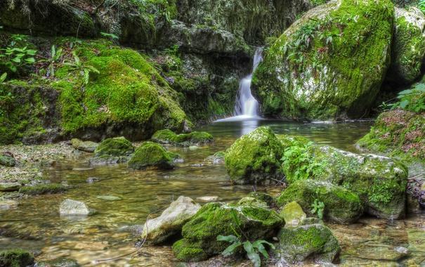 Фото обои ручей, камни, водопад, мох, HDR, Италия, Veneto