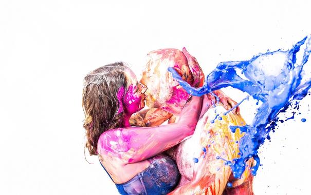 Фото обои краски, поцелуй, пара, Splash