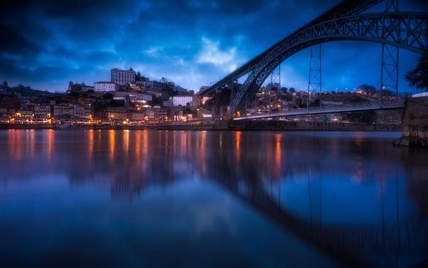 Фото обои облака, мост, отражение, река, дома, вечер, Португалия