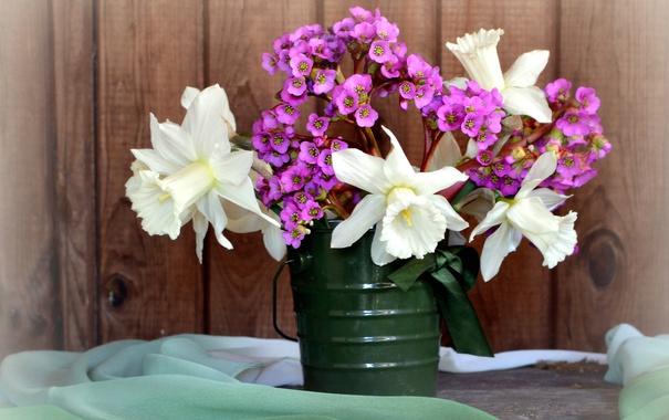 Фото обои букет, весна, нарциссы
